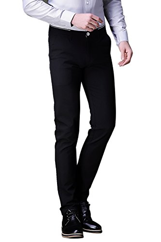 Pants Leg Fly Button Straight (FLY HAWK Mens Business Dress Pants Straight Leg Trousers Black US Size 36)