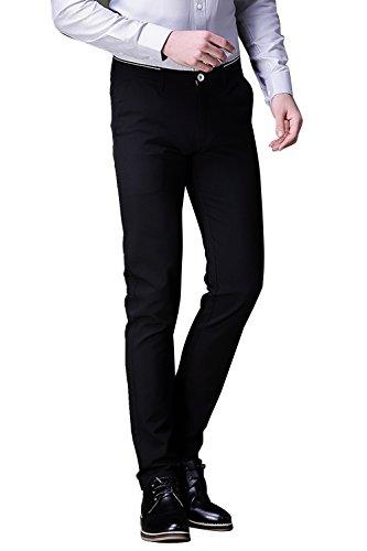 - FLY HAWK Mens Business Dress Pants Straight Leg Trousers Black US Size 36