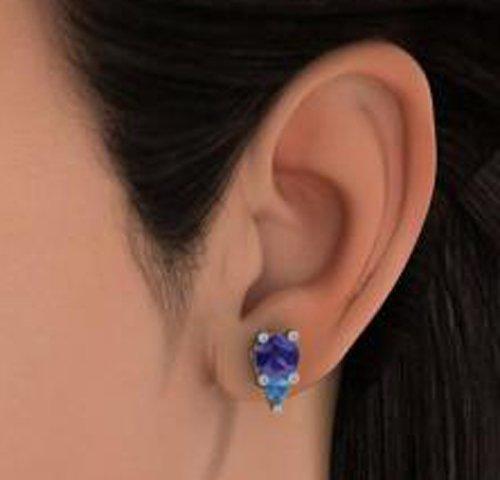 14K Or blanc 0.09CT TW Round-cut-diamond (IJ | SI) et iolite et topaze bleue Boucles d'oreille à tige