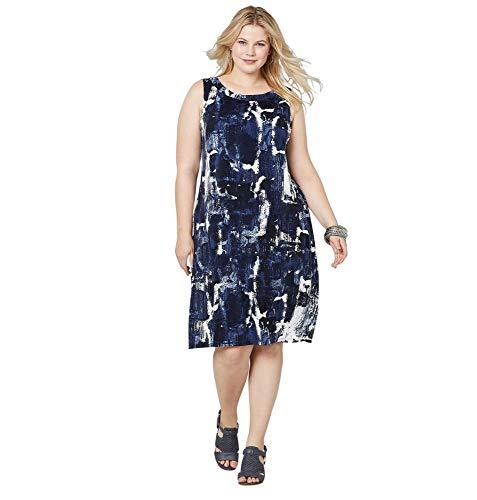 Avenue Women's Blue Abstract Print Sheath Dress, 18/20 Blue Print