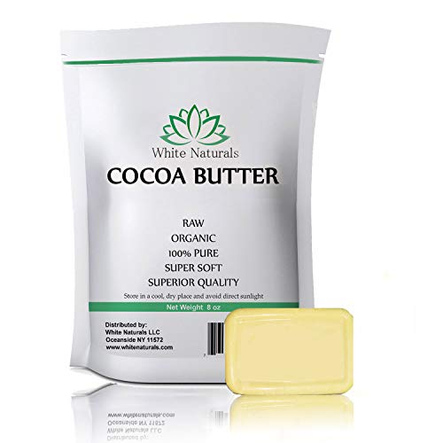 Cocoa Butter 8oz,Unrefined, Raw, 100% Pure, Natural - For DIY Recipes, Body Butters, Soap Making, Lotion, Shampoo, Lip Balm By White Naturals
