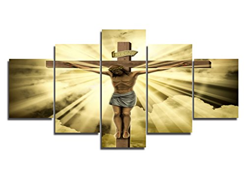 House Decorations Living Room Wall Decor Jesus Crucified on the Cross Canvas Christ Religious Paintings 5 Panel Posters and Prints Pictures Home Decor,Giclee Artwork Framed Ready to Hang(60''Wx32''H) (Christ Wall Cross Jesus)