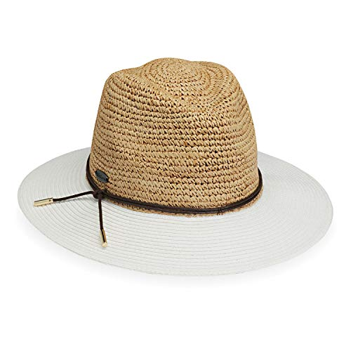 Wallaroo Hat Company Women's Laguna Sun Hat - Broad Brim Fedora, Two-Toned, Natural/White ()