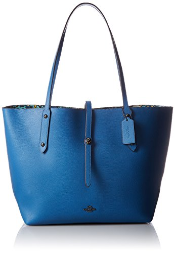 COACH Women's Printed Leather Market Tote Dk/Lapis Teal Yankee Floral Handbag