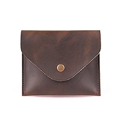 ZE Women's Hand-stitched Genuine Leather Envelope Mini Pouch Card Case Vintage Style