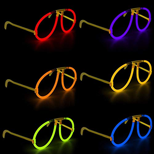 (Fun Central G709 2 Packs of 6 Pairs Assorted Glow Stick Eye Glasses, Glow Sticks for Kids, LED Light Up Glasses, Glow Glasses, Glow Sticks Bulk)