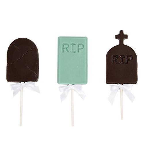 [Tombstone Chocolate Lollipops: Halloween Milk Chocolate Tombstone On a Stick, Tied Together With a Festive Ribbon - Packaged in a Cello Bag - Perfect for Halloween] (Quick Costume Ideas For Work)