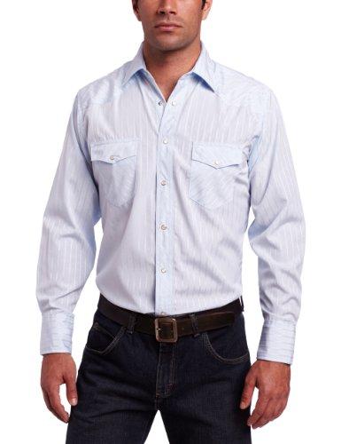 Tall Western Shirts (Wrangler Men's Tall Sport Western Snap Shirt Dobby Stripe, Blue, X-Large Tall)
