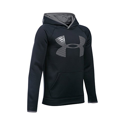 Under Armour Boys' Storm Armour Fleece Highlight Big Logo Hoodie, Black/Graphite, Youth Large