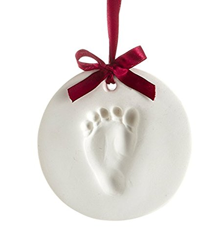 Baby Handprint Ornament Kit, Proud Baby Deluxe Clay Hand Print and Footprint Keepsake Kit, Makes A Great Holiday Gift And Keepsake