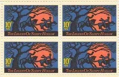 1974 LEGEND OF SLEEPY HOLLOW ~ WASHINGTON IRVING #1548 Block of 4 x 10 cents US Postage Stamps ()