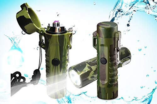 Lighter, KoowlHW Electric Plasma Lighter Windproof and Waterproof, USB Lighter Rechargeable Multipurpose Double ARC Lighter with LED Light & Tactical Emergency Flashlight (2 in 1) ()