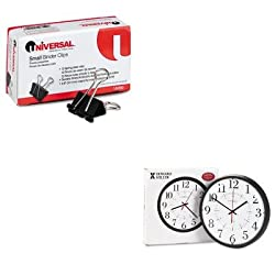 KITMIL625323UNV10200 - Value Kit - Howard Miller Alton Auto Daylight Savings Wall Clock (MIL625323) and Universal Small Binder Clips (UNV10200)