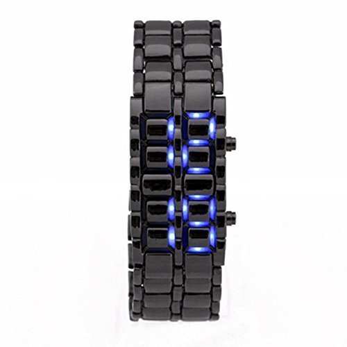 KitMax (TM) Pack of 2 Pcs Novelty Unisex Lava Style Black Stainless Steel Automatic LED Digital Army Military Sport Bracelet Wrist Watch (One Blue One Red)