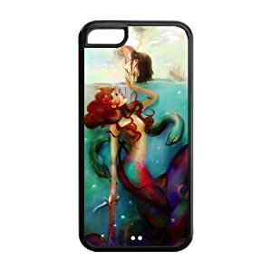 Mystic Zone Princess Ariel The Little Mermaid Cover Case for Apple iPhone 5C -(Black and White) -MZ5C00212