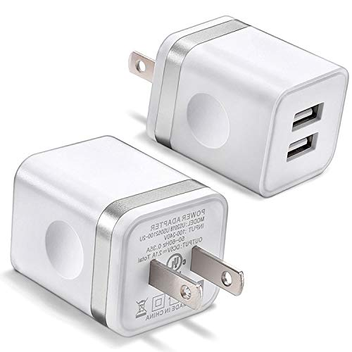 (USB Wall Charger, BEST4ONE 2-Pack 2.1A/5V Dual Port USB Plug Power Adapter Charging Block Compatible with Phone XS/XR/X, 8/7/6 Plus, Samsung, Tablet, Moto, Google Pixel, Android Cell Phone (White))