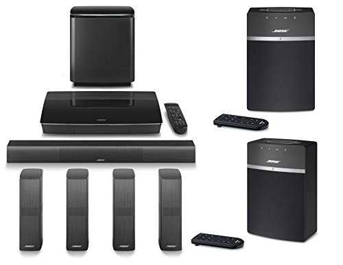 Bose LifeStyle 650 Home Entertainment System, Black, with SoundTouch 10 WiFi Music System (Pair), Black