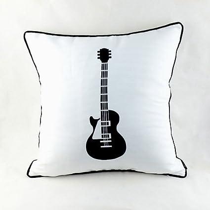 Decorativo diseño de Rock electrónica de guitarra eléctrica Blanco de cojín con funda de almohada de