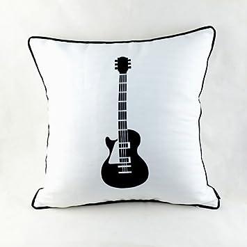 Decorativo diseño de Rock electrónica de guitarra eléctrica Blanco de cojín con funda de almohada de microfibra para ropa de cama para sofá o: Amazon.es: ...