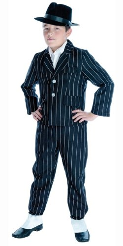 Bugsy Malone Costume Child (1920s Gangster Bugsy Malone Childs Fancy Dress Costume & Hat XL 146cms)