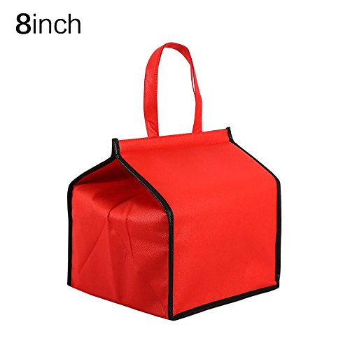 Aluminum Foil Cake Fresh-keeping Bag Picnic Cooler Tote Bag Red 8inch,Set of 2 ()