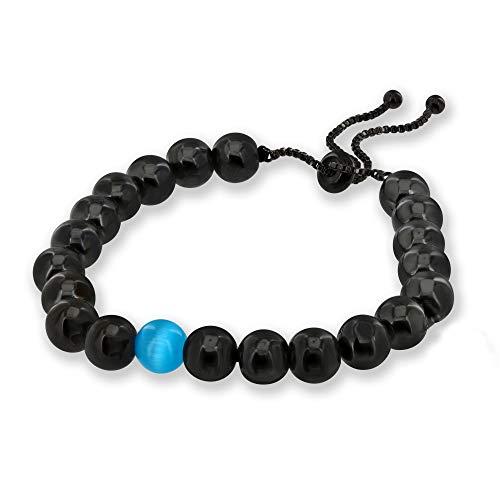 Believe London Onyx & Cat Eye Gemstone Bracelet Healing Bracelet Chakra Bracelet Anxiety Crystal Natural Stone Men Women Stress Relief Reiki Yoga Diffuser Semi ()