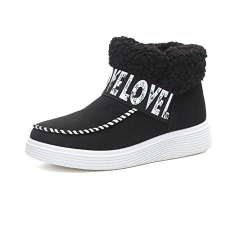 KUKI Damenschuhe, kurze Röhre, Schneeschuhe, Stiefel, dicke Sohlen, Baumwollschuhe, plus Samt, faule Schuhe, warme Baumwollstiefel, Mode, Freizeit black