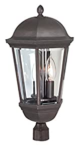 Exteriors By Craftmade (z3025-92) Britannia 3 Light Post Mount In Oiled Bronze & Clear Beveled Glass