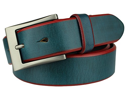 Bullko Men's Casual Genuine Leather Dress Belt Classic Pin Buckle Blue ()