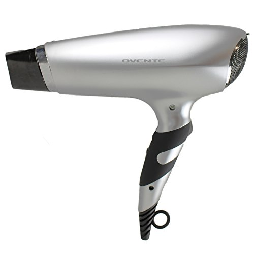 Ovente Seductive Ceramic Ionic Tourmaline Lightweight Professional Hair Dryer with BONUS Wide Concentrator Nozzle and Travel Bag, 1875-Watts, 2 Speed 3 Heat Settings, Cool Shot Button, Silver (X2110S)