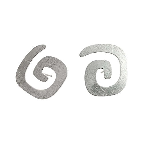 (Takobia Women's Scratched Square Plated Swirl Design Stud - .925 Sterling Silver Post Earrings)