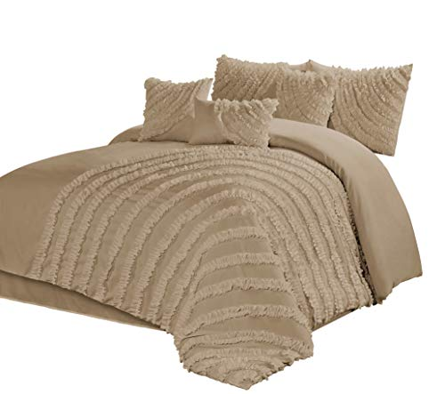 7 Piece Hillary Bed in a Bag Ruffled Comforter Sets- Queen King Cal.KingSize (Queen, Taupe) (Comforter Beige Set)
