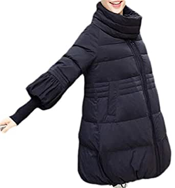 Macondoo Women's A Line Thicken Stand Collar Winter Cotton-Padded Parkas Coat Black X-Small