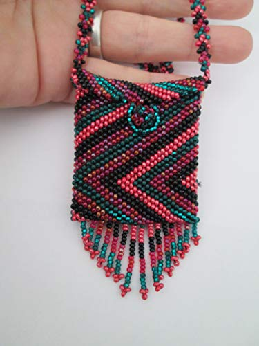 - pink purple black green peyote stitch geometric Hand beaded Guatemalan central american Native medicine bag stash pouch necklace fair trade southwest glass beads Aztec Indian design Ethnic bead