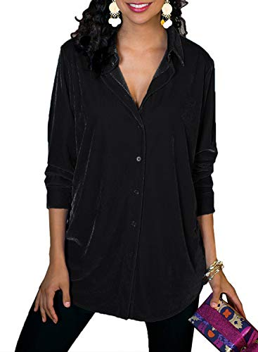 Azokoe Womens Casual Velvet V Neck Top Long Sleeve Waist Button Down Shirts Solid Printed Blouse Tunic Tops Black Size 12 14 ()
