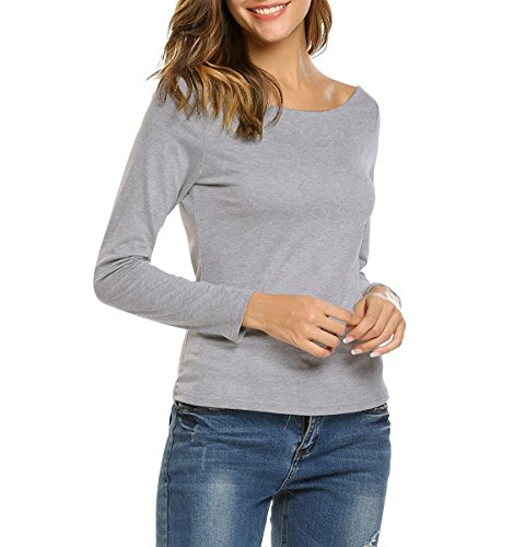 GUBUYI Women's Long Sleeve T-Shirt Sexy Soft Cotton Top (Gray/Boat-Neck, L)