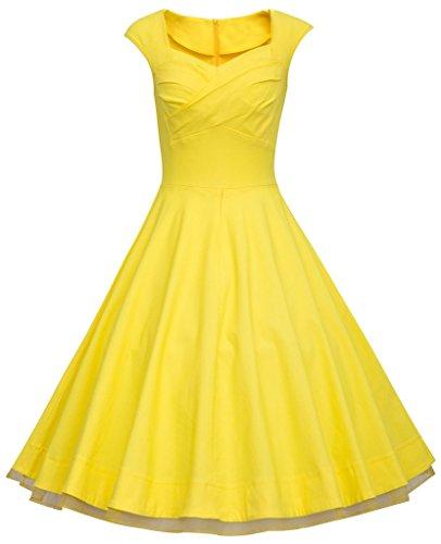 Eudolah - Vestido - Sin mangas - para mujer amarillo