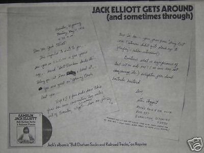 - Ramblin Jack Elliott 1970 LP Album Promo Poster Newspaper Ad