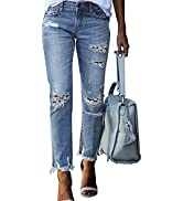 Asvivid Classic High Rise Ankle Skinny Jeans for Women Stretch Ripped Denim Pants Slim Fit Distre...
