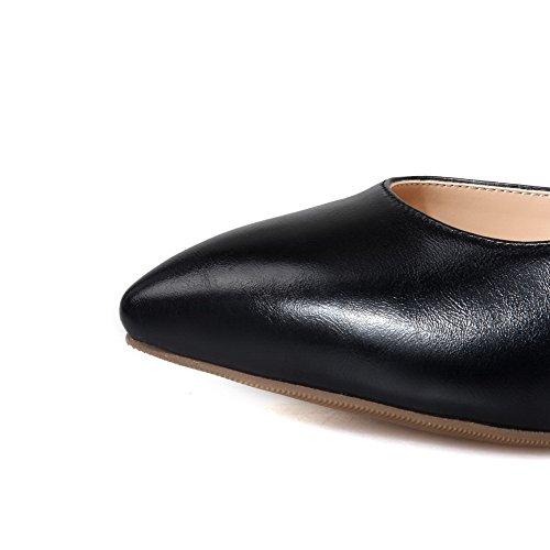 Stilettos PU Schuhe Zehe geschlossene schwarz wies Spikes Damen Solide On aus Pumps Pull VogueZone009 IqEAwgg