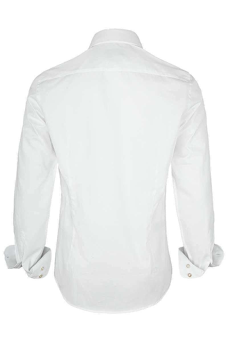 Almsach Herren Hemd Slim Fit wei/ß mit Karierten Details blau wei/ß-Jeans,