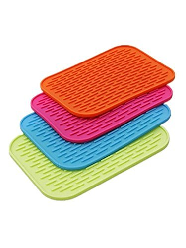 ((Super Value Set of 4) High Quality Silicone Trivets / Pot Holder / Coaster / Placemat / Hot Pad)