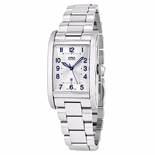 Oris Rectangular Date Stainless-Steel Womens Watch - Classic Rectangle Analog Silver Face Ladies Watch with Second Hand and Sapphire Crystal - Swiss Made Automatic Dress Watch for Women 561 7692 4031