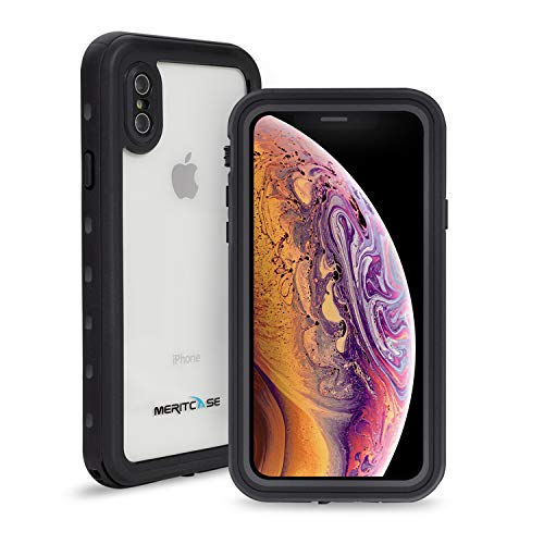 iPhone Xs/iPhone X Waterproof Case, Meritcase IP 68 Underwater Full Body Cover Dropproof Snowproof Dustproof Rugged Bumper Case with Built-in Screen Protector for iPhone X/Xs 5.8inch (Clear Black)