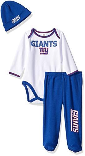 NFL New York Giants Unisex-Baby Bodysuit, Pant, Cap Set, Blue, 3-6 Months