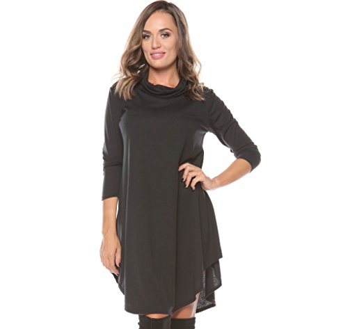 ROSERRY Women's Long Sleeve Casual Loose T-Shirt Dress (L, Black)