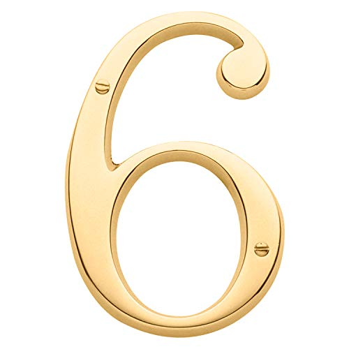 (Baldwin Estate 90676.003.CD Solid Brass Traditional House Number Six in Polished Brass, 4.75