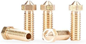 BIQU 3D Volcano Extra Brass Nozzle 0.4mm M6 Printed Head for 1.75mm Filament 3D Printer Pack of 5pcs