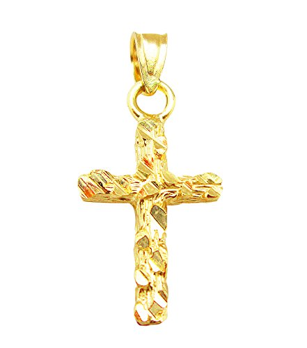 US-Shopsmart Women's Babies 10K Yellow Gold Nugget Cross Pendant -