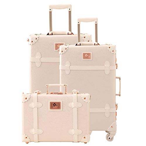 Women Trolley Suitcase Set Lightweight Travel Luggage Carry On Leather Trunk 3 Pieces (rose white)